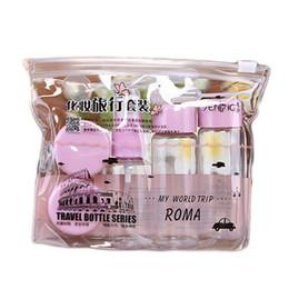 großhandel parfums sets Rabatt Großhandels- 5pcs / set Verfassungs-Spray-Flaschen-Installationssätze tragbares Parfüm-Shampoo-Creme-Lotion-Behälter-Spielraum-kosmetische Flasche stellte mit Beutel ein
