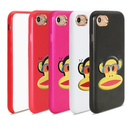 Wholesale Monkey Phone Covers - For Ip8 Cell Phone Case High Quality Monkey 3D Drawing PU+Leather 360 Full Cover Phone Cases