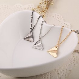Wholesale I Love One Direction - Britain One Direction Aircraft Necklaces Paper airplane Pendants I Love 1D Fans Torque charm necklace Silver Gold Chain for women men 160550