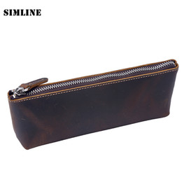 Wholesale Handmade Cowhide Purses - Wholesale- Vintage Handmade 100% Genuine Crazy Horse Leather Cowhide Men Women Long Zipper Wallet Wallets Coin Purse Pen Pencil Bag Case