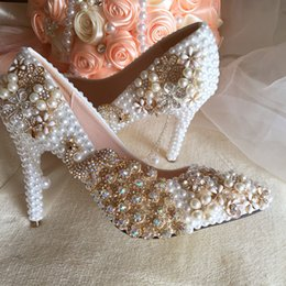 Wholesale Pretty Pumps - Rhinestone Phoenix Flowers Appliques Wedding Shoes White Pearl High Heels Pointed Toe Bride Shoes Pretty Prom Celebrity Shoes