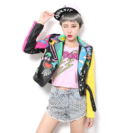 Wholesale Short Leather Jackets For Women - Wholesale- Cool ! New Crazy style Graffiti Pattern PU Leather for Women Jacket With a Belt Zippers Woman Motorcycle Short Leather Outwear