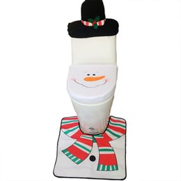 Wholesale Christmas Tissue Box Cover - New Year Christmas Snowman Toilet Seat Cover Tissue Box Rug Three-piece Set Bathroom Mat Set Christmas Gift Home Decoration 6Sets Lot