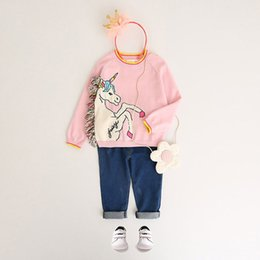 Wholesale Kids Animal Sweaters - Girls Unicorn Pullover Sweater Colorful Tassel White Little Pony Pink Cotton Princess Outdoor Kids Clothing 2-8T