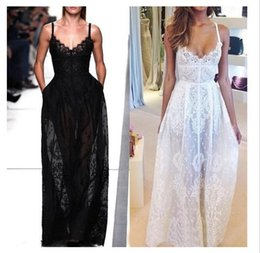 Wholesale Ladies Designer Black Lace Dress - 2015 Hot sleeveless maxi dress for women fashion designer sexy black and white lace backless long beach party club dresses for ladies