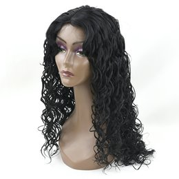 Wholesale Long Hairpieces For Women - hanzi_beauty Long Deep Wave Hairstyle Synthetic Hair Black Wigs Party Hair Cosplay Wigs for Black Women Hairpiece Headwear Accessories