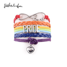 2020 lgbt браслет Wholesale- Little MingLou Infinity love pride bracelet heart charm awareness LGBT leather wrap men bracelets & bangles for women jewelry скидка lgbt браслет