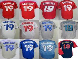 Wholesale Womens Sport Shirt Xl - 2017 Wholesale Mens Womens Kids Toddlers Toronto 19 Jose Bautista Blue White Grey Red Stitched Sports shirt Cheap Top Sale Baseball Jerseys