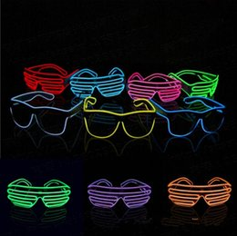 Wholesale Neon Glasses Frames - El Wire Neon LED Light Up Shutter Party Glasses Lighting Classic Bright Light Festival Glasses 10pcs OOA3787