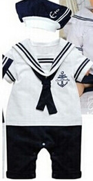 Wholesale Baby Sailor Hats - Wholesale-Free shipping 2014 summer Retail navy style baby romper suit kids boys girls rompers+hat body summer short-sleeve sailor suit