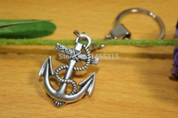 Wholesale Sideways Anchor Charm - Silver Sideways Anchor keychain key ring charm Keychain, Mixed order at least $10 ring carrier keychain knife