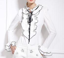 Wholesale Ruffle Blouse Plus Sizes - Ropa Mujer Elegant Ruffled Blusa 2015 Women Blouses Vintage Camisas Plus Size Blusas Femininas Bow Blusas Y Camisas Mujer Tops