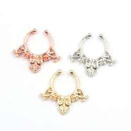 Wholesale Flower Nose Rings - 10pcs clip on hoop nose ring flower alloy silver and gold mixed faux septum ring nose fake piercing N0056