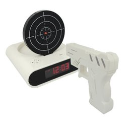 Wholesale Clock Guns - Novelty Gun Alarm Clock Gun O'clock Shooting Game Cool Gadget Toy Novelty with Laser Target
