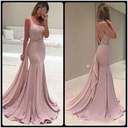 Wholesale Purple Peplum Skirt - 2018 Pink Mermaid Evening Dresses Square Peplum Ruffles Skirt Hollow Back Flare Sweep Train with Beaded Belt Prom Gowns