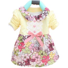 Wholesale Turtleneck Collar Kids - Wholesale- Toddler Baby Girls Floral Princess Dress Kids Bowknot One Piece For 0-2Y 4 Colors