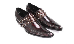Wholesale Classic Leather Mens Shoes Oxford - Top Brand Mens Dress Shoes Oxfords Mens Classic Shoes Square Toe Crystals Buckles Mens Italian Dress Shoes Wedding Oxfords High Quality
