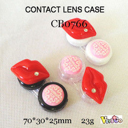 Wholesale Free Shipping Contact Lenses - FREE SHIPPING wholesale CB0766 red diamond lips with round pink DECO contact lens case small colorful lenses holder