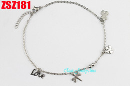 Wholesale Little Girls Bracelets - Stainless steel bracelet footchain Anklets chains Women lady girl Mother's Day gift Little bear+dragonfly+Lucky grass+love+bead 10pcs ZSZ181