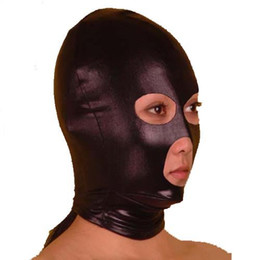 Wholesale Open Face Mouth Mask Hood - Party Mask Spandex With Latex Hood Cap Head mask Face Mask Eyes Nose Mouth Open Halloween Mask