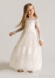 Wholesale Tiered Girls Dress Sleeves - 2015 Princess Sheer Tulle Flower Girls Dresses Long Sleeves Custom Made Lace Designer First Communion Dresses Appliques Latest Designer 2016