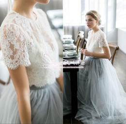 Wholesale Long Sleeve Shirts For Cheap - Country Cheap Two Pieces 2017 Grey Bridesmaid Dresses for Wedding Appliques Long Tulle A-Line Lace Formal Dresses Party Lace Modest Maid