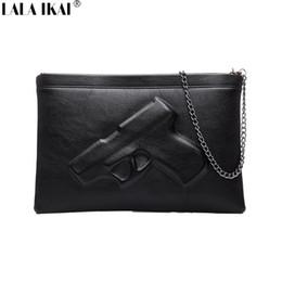 Wholesale Document Handbag - New Fashion Arrived Black Bag 2015 Design Gun Printing Clutch with Chains Women Messenger Bags Documents Handbags BWF0090