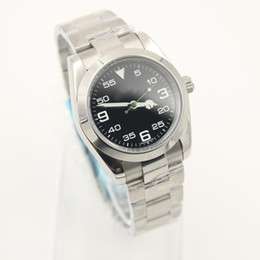 Wholesale Green Blue Sapphire - watches men luxury brand Stainless steel strap AIR KING Black dial green pointer automatic movment Sapphire glass mirror aaa watch