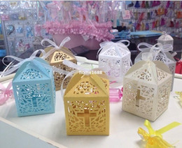Wholesale Christening Boxes Wholesale - baby shower favor box cross candy box elegant laser cut wedding birthday christening party favors 50pc lot free shipping