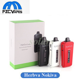 Wholesale E Cigarette Glass - 100% Original Airisvape Herbva Nokiva Airis Dry Herb Vaporizer Big OLED Display Ceramic Donut Chamber Herbal Pen Vape Kit E Cigarette