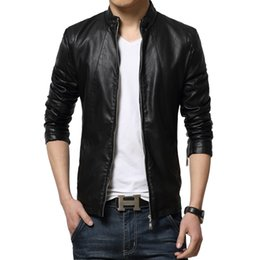 Wholesale Blue Leather Coat Mens - Fall-2015 New Autumn Stand Collar Leather Jacket Men Outdoor Mens Jackets And Coats Jaqueta De Couro Masculina Plus Size M-5XL