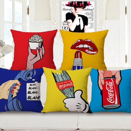 Wholesale Lips Throw Pillows - 6 Styles American POP Art Cushion Covers Lipstick Red Lips Telephone Cushion Cover Sofa Throw Decorative Beige Linen Pillow Case