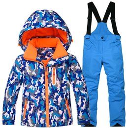 Wholesale Girls Snowboard Jacket - Wholesale- Winter Thicken Ski Suit for Boys and Girls Children's Ski Set Ski jacket and Pant Snowboard Suit Kids Snowboarding Jacket+Pant