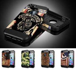 Wholesale Iphone5 Silicone Back Case Pc - Skull Army National Flag Animal Leopard Colorful Hybrid SGP Touch Armor Hard PC + Soft Silicone Back Case Cover for iPhone 5 5S iPhone5