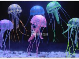 "Wholesale Wholesale Jellyfish - 2016 Hot New 5.5"" 2pic Glowing Effect Elegant Aquarium Artificial Jellyfish Ornament Fish Tank Decoration"