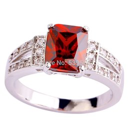 Wholesale White Spinel - Free Shipping Wholesale Ruby Spinel & White Topaz 925 Silver Ring Size 10 New Jewelry Graceful Modest Women Party Wedding Rings