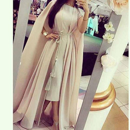 Wholesale Myriam Fares Celebrity Dresses Two Piece Set Sheath Tea Length Chiffon Dress with Cape and Tassel Belt
