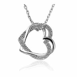 Wholesale Different Color Rhinestones - Beautiful Fashion Jewelry Silver Gold Plated Different Color Crystal Rhinestone Double Heart Necklace Pendant Fashion Jewelry