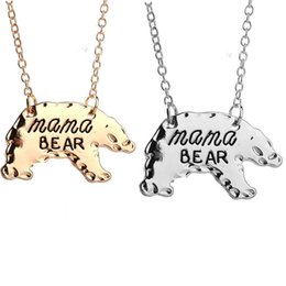 Wholesale christmas gifts for moms - Gold Silver Tone Personalized Mama Bear Necklace Mother Bear Mama Necklace Mothers Day Gift For Mom Fashion Jewelry 161893