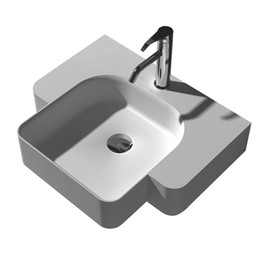 Wholesale Vessel Sinks Stone - Rectangular Bathroom Solid Surface Stone Wash Basin Wall hung Matt White Or Glossy Laundry Vessel Sink RS38185