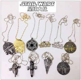 Wholesale Silver Plated Charms Bulk - Star Wars TIE Fighter Pendant Necklace New Mix 10 Styles Gold Filled Star Wars Spacecraft Fighter Pendant Necklace Chain Jewelry in Bulk
