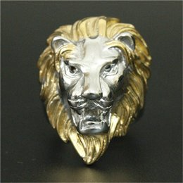Wholesale Tibet Silver Lion - 1pc New Arrival Cool Golden Lion Head Ring 316L Stainless Steel Cool Design Animal Lion King Ring