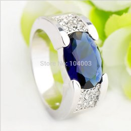 Wholesale Men Ring Design Stone - Summer Fashion Rings 10KT White Gold Filled Sapphire Ring for men Blue Sapphire Jewelry Size 9 10 11 12 European Design RW0115