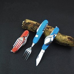 fork knife spoon high quality Coupons - Dinnerware Folding Knife Outdoor Stainless Steel Knifes Fork Spoon Sets For Outdoor Camping Multifuncation Tableware High Quality 7 5ys BW