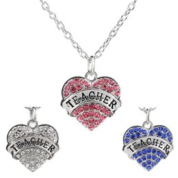Wholesale Words Circle Pendant - Mix color Women Lady Clear Blue Pink Crystal Heart Lettering Words Engraved Teacher Pendant Necklace Jewelry Christmas Gifts For Teacher