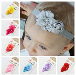 Wholesale Christmas Bows For Baby Girls - 2017 headband for girls multi color flower chiffon hairband girls Pearl bow headwrap lovely bow headwrap baby headwrap baby head wrap hd022