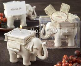 Wholesale Ivory Elephant Candle Holder - Fashion Lucky Elephant Tea Light Candle Holder Ivory Ceramic Bridal Wedding Party Decor Free Shipping 010383