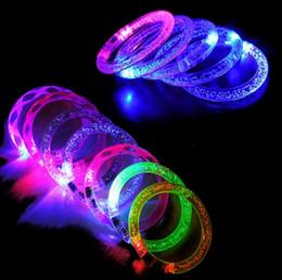 Wholesale Kids Wholesale Acrylic Bangle - Colorful LED Flashing Bracelet Fluorescen Acrylic Blinking Crystal Bracelets LED Color Hand Ring Bangle Stunning Dance Party Christmas Gifts