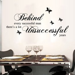 Wholesale Man Decals - Black English Quote Wall sticker Behind Every Successful Man Wall Stickers Home Decor Art Decals for Study & Living Room