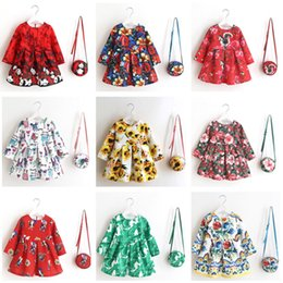 Wholesale Mid Autumn Lanterns - 2017 New Summer & autumn children Dress Quirky Patterned Long Sleeve Dress and Bag Set for Baby and Toddler Girls